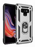 Eiroo Magnet Ring Samsung Galaxy Note 9 Ultra Koruma Silver Kılıf
