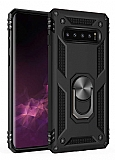 Eiroo Magnet Ring Samsung Galaxy S10 Plus Ultra Koruma Siyah Kılıf
