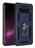 Eiroo Magnet Ring Samsung Galaxy S10 Plus Ultra Koruma Lacivert Kılıf
