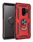 Eiroo Magnet Ring Samsung Galaxy S9 Plus Ultra Koruma Kırmızı Kılıf