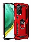 Eiroo Magnet Ring Xiaomi Mi 10T Pro 5G Ultra Koruma Kırmızı Kılıf