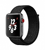 Eiroo Spor Loop Apple Watch / Watch 2 / Watch 3 Siyah Kumaş Kordon (42 mm)
