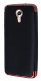 Eiroo Matte Fit General Mobile Android One Kırmızı Kenarlı Siyah Silikon Kılıf
