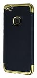 Eiroo Matte Fit Huawei P10 Lite Gold Kenarlı Siyah Silikon Kılıf