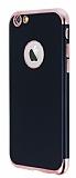 Eiroo Matte Fit iPhone 6 / 6S Rose Gold Kenarlı Siyah Silikon Kılıf