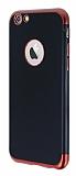 Eiroo Matte Fit iPhone 6 / 6S Kırmızı Kenarlı Siyah Silikon Kılıf