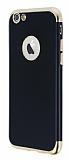 Eiroo Matte Fit iPhone 6 / 6S Gold Kenarlı Siyah Silikon Kılıf