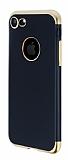 Eiroo Matte Fit iPhone 7 Gold Kenarlı Siyah Silikon Kılıf