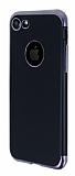 Eiroo Matte Fit iPhone 7 Dark Silver Kenarlı Siyah Silikon Kılıf