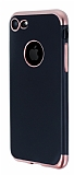 Eiroo Matte Fit iPhone 7 Rose Gold Kenarlı Siyah Silikon Kılıf