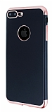 Eiroo Matte Fit iPhone 7 Plus / 8 Plus Rose Gold Kenarlı Siyah Silikon Kılıf