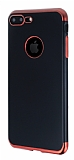 Eiroo Matte Fit iPhone 7 Plus / 8 Plus Kırmızı Kenarlı Siyah Silikon Kılıf