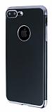 Eiroo Matte Fit iPhone 7 Plus / 8 Plus Dark Silver Kenarlı Siyah Silikon Kılıf