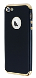Eiroo Matte Fit iPhone SE / 5 / 5S Gold Kenarlı Siyah Silikon Kılıf