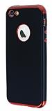 Eiroo Matte Fit iPhone SE / 5 / 5S Kırmızı Kenarlı Siyah Silikon Kılıf