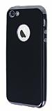 Eiroo Matte Fit iPhone SE / 5 / 5S Dark Silver Kenarlı Siyah Silikon Kılıf