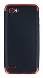 Eiroo Matte Fit LG Q6 Kırmızı Kenarlı Siyah Silikon Kılıf