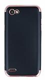 Eiroo Matte Fit LG Q6 Rose Gold Kenarlı Siyah Silikon Kılıf