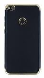 Eiroo Matte Fit Huawei P9 Lite 2017 Gold Kenarlı Siyah Silikon Kılıf