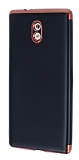 Eiroo Matte Fit Nokia 3 Kırmızı Kenarlı Siyah Silikon Kılıf