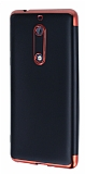 Eiroo Matte Fit Nokia 5 Kırmızı Kenarlı Siyah Silikon Kılıf