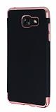 Eiroo Matte Fit Samsung Galaxy A7 2016 Rose Gold Kenarlı Siyah Silikon Kılıf
