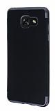 Eiroo Matte Fit Samsung Galaxy A7 2016 Dark Silver Kenarlı Siyah Silikon Kılıf