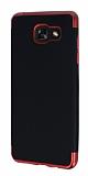 Eiroo Matte Fit Samsung Galaxy A7 2016 Kırmızı Kenarlı Siyah Silikon Kılıf