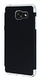 Eiroo Matte Fit Samsung Galaxy A7 2016 Silver Kenarlı Siyah Silikon Kılıf