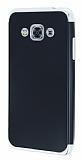 Eiroo Matte Fit Samsung Galaxy J3 Pro Silver Kenarlı Siyah Silikon Kılıf