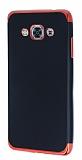 Eiroo Matte Fit Samsung Galaxy J3 Pro Kırmızı Kenarlı Siyah Silikon Kılıf