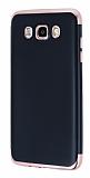 Eiroo Matte Fit Samsung Galaxy J7 2016 Rose Gold Kenarlı Siyah Silikon Kılıf