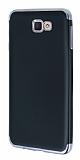 Eiroo Matte Fit Samsung Galaxy J7 Prime Dark Silver Kenarlı Siyah Silikon Kılıf