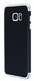 Eiroo Matte Fit Samsung Galaxy S7 Edge Silver Kenarlı Siyah Silikon Kılıf
