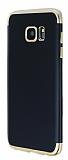 Eiroo Matte Fit Samsung Galaxy S7 Edge Gold Kenarlı Siyah Silikon Kılıf