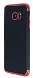 Eiroo Matte Fit Samsung Galaxy S7 Edge Kırmızı Kenarlı Siyah Silikon Kılıf