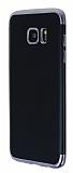 Eiroo Matte Fit Samsung Galaxy S7 Edge Dark Silver Kenarlı Siyah Silikon Kılıf