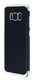 Eiroo Matte Fit Samsung Galaxy S8 Silver Kenarlı Siyah Silikon Kılıf