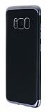 Eiroo Matte Fit Samsung Galaxy S8 Dark Silver Kenarlı Siyah Silikon Kılıf