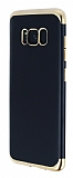 Eiroo Matte Fit Samsung Galaxy S8 Gold Kenarlı Siyah Silikon Kılıf