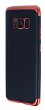Eiroo Matte Fit Samsung Galaxy S8 Kırmızı Kenarlı Siyah Silikon Kılıf