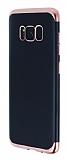 Eiroo Matte Fit Samsung Galaxy S8 Plus Rose Gold Kenarlı Siyah Silikon Kılıf
