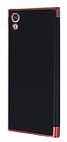Eiroo Matte Fit Sony Xperia XA1 Kırmızı Kenarlı Siyah Silikon Kılıf