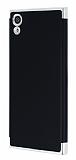 Eiroo Matte Fit Sony Xperia XA1 Silver Kenarlı Siyah Silikon Kılıf