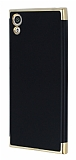 Eiroo Matte Fit Sony Xperia XA1 Gold Kenarlı Siyah Silikon Kılıf