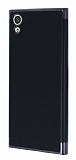 Eiroo Matte Fit Sony Xperia XA1 Dark Silver Kenarlı Siyah Silikon Kılıf