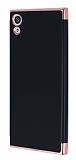 Eiroo Matte Fit Sony Xperia XA1 Rose Gold Kenarlı Siyah Silikon Kılıf