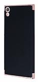 Eiroo Matte Fit Sony Xperia XA1 Ultra Rose Gold Kenarlı Siyah Silikon Kılıf