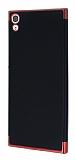 Eiroo Matte Fit Sony Xperia XA1 Ultra Kırmızı Kenarlı Siyah Silikon Kılıf