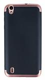 Eiroo Matte Fit Vestel Venus 5530 Rose Gold Kenarlı Siyah Silikon Kılıf